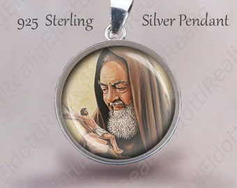 St Padre Pio  Medal 925 Sterling Silver Catholic Medal. Christian Patron Saint Pendant Jewelry Medal for Necklace