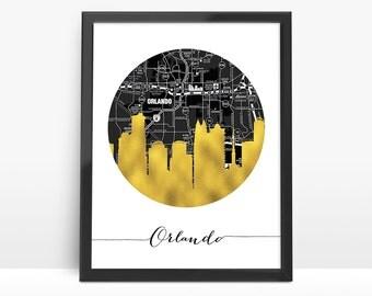 Orlando City Skyline, Faux Gold Foil Art,Black and White Map,Orlando map,Modern Home Decor,NO,726