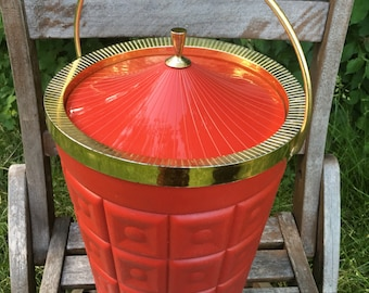 Vintage Red and Gold Lustroware Ice Bucket