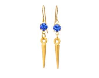 Sapphire Blue and Gold Dangle Drop Spike Earrings