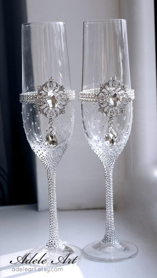 Pesronalized Champagne Wedding Flutes Set Of 2 Wedding