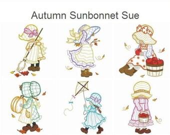 Autumn Sunbonnet Sue Machine Embroidery Designs Instant Download 4x4 5x5 6x6 hoop 10 designs APE2216