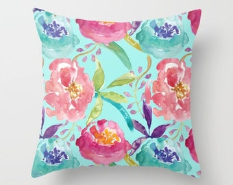 Blue Floral Pillow Cover - Modern Flowers Cushion Cover - Modern Decor - Pink Blue Pillow Cover -18x18 or 20x14 - Decorative Pillow