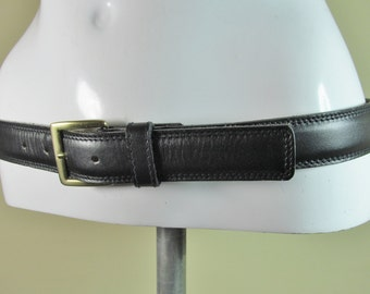 "Vintage black slim leather belt fashion belt stitch detail 30"" - 34"" Male S/M female M/L R14561"