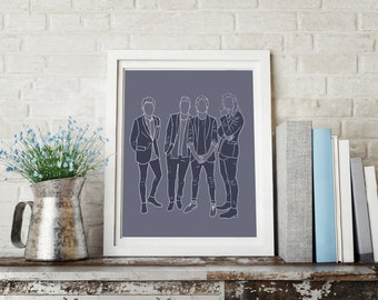 Blue Direction - One Direction Print - Harry Styles - Louis Tomlinson - Niall Horan - Liam Payne