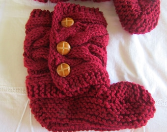 Red Knitted Cozy Slippers - Slipper Socks - Claret Red Slippers - Women's Slippers - Ready To Ship in size 7 1/2-8 1/2 or MADE TO ORDER