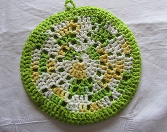 Colourful Crocheted Potholder - Double sided Hotpad - 100% Cotton - Crocheted Trivet - Spring Colors - Green, Yellow and White
