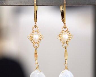 Gemstone Earrings // 14K Gold Filled