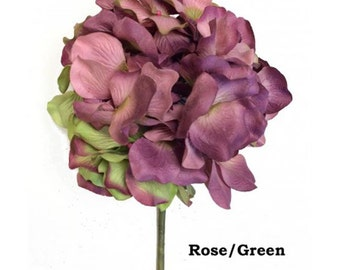 5 Stems Handmade Paper/Parchment Hydrangea-Rose/Green - 5 stems per order