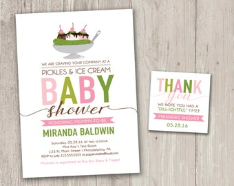 Pickles and Ice Cream Baby Shower with free matching favor tags, Cravings Baby Shower Invitations