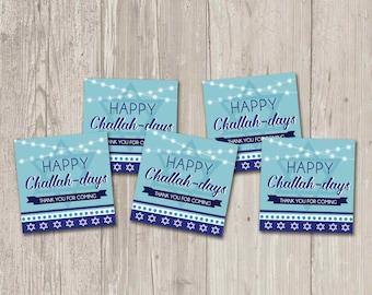 Happy Challah-Days, Hanukkah Favor Tags | Printable