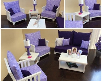 American Girl - 5 Piece Living Room Collection - Couch, 2 Chairs, Coffee & End Table with Coordinated Lamp - Purple and Lavender