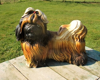 Large Statuette Figurine Pekinese Pekingese Dog Terracotta Lovely