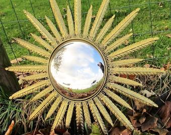 Stunning Sunburst Wall Hanging Convex Mirror Mid Century Brass French