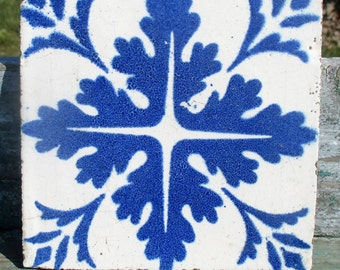Vintage Blue White Ceramic Tile Abstract