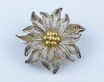 Silver filigree flower brooch - marked .800