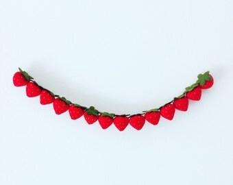 Strawberry felt garland