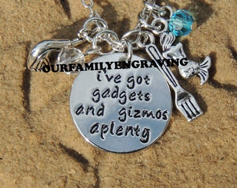 ON SALE Ive got gadgets and gizmos a plenty little mermaid inspired Hand stamped pendant necklace
