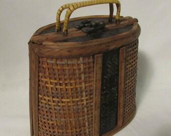Purse, Handbag, Wood - Tin - Rattan - Brass, Felt Lined, 1950's or 1960's
