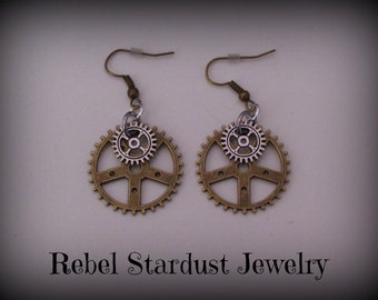 Steampunk gear earrings #1