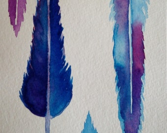 Feathers ORIGINAL watercolor painting greeting card. Blues, and pinks,purples, for her, birthday, all occasion with envelope
