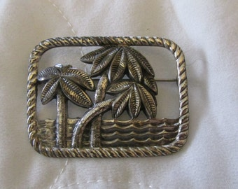 Sterling Tropical Palm Trees Brooch Pin Marked Sterling