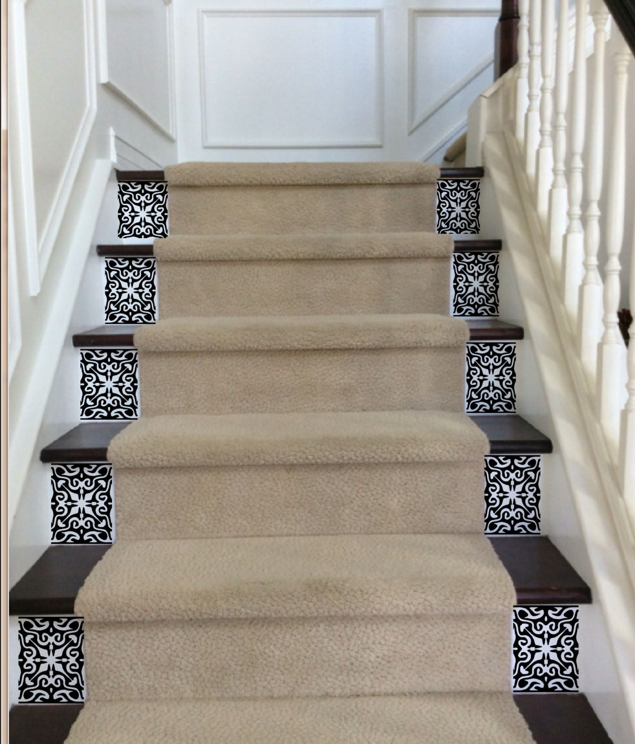 Ornate vinyl tile decals for carpeted stairs decals for - Stickers pour marche d escalier ...