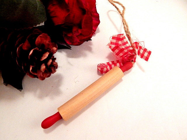 Rolling Pin Miniature Wooden Christmas Tree Ornament Red And