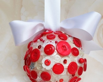 Red and white pomander, flower girl pomander, wedding aisle decor, church pew decor, alternative bouquet, home decor, best friend gift