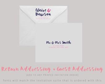 PRINTED OR DIGITAL Envelope Addressing/Custom Return Address & Guest Address—Invitation Suite Add On, Wedding Invitation Addressing