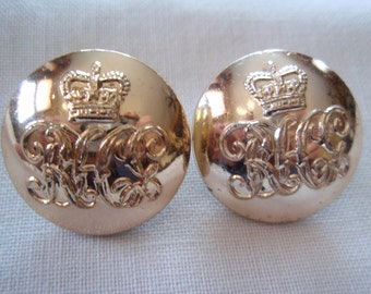 Lot of 2 Military Brass Military Buttons Royal Canadian Collectible Military B65