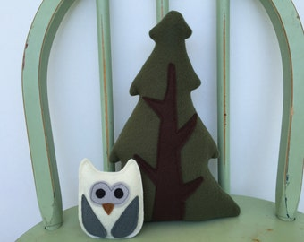 Handmade Evergreen Tree and Woodland Owl Set of Two, Toy, Plushie