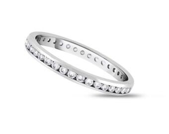 0.53 CT Natural Round Diamond Channel Set Eternity Band in Solid 18k White Gold