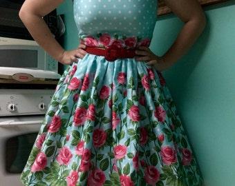 Roses and Polka Dots Retro Dress