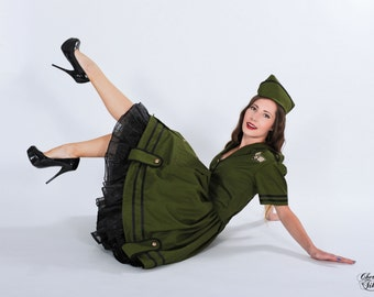 LAST for Halloween 2017 Pinup Army Military Dress Costume Retro Rockabilly Shirtwaist Pin Up Gothic Lolita Dress Green Custom Size Plus