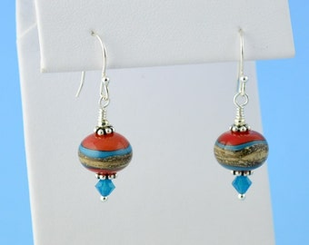 Southwestern Style Lampwork Earrings, Sterling, Lightweight, Red, Turquoise