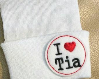 Newborn Beanie Hat. I LOVE TIA! Choice of Hat Colors. Super Cute. Perfect Gift! Newborn Hospital Hat. Baby's 1st Keepsake!
