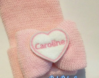 Exclusive Thicker Knit Newborn Hospital Hat Monogrammed with Name! Bow with Name!  1st Keepsake! Baby Hat