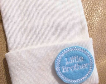 A Best Seller! Newborn Hospital Hat. Now w/ White letter LITTLE BROTHER Applique.  Every New Baby Boy Should Have! Adorable!