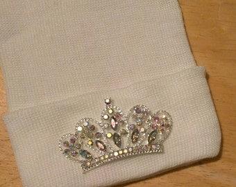 Newborn Hospital Hat EXCLUSIVE. Solid White Hat with Iridescent Rhinestone Tiara. Her Very 1st Tiara Keepsake!
