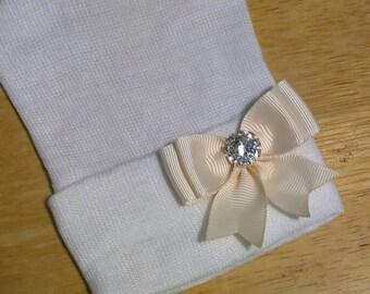 New! Newborn Hospital Hat w/ Ivory Off White Bow with Rhinestone on it 1st Keepsake. You Choose Hat Color.  Beautiful