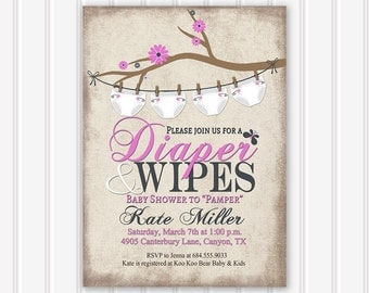 baby shower invitation diaper and wipes baby shower invitation rustic