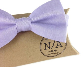 Pale purple bow tie, purple bow tie, lavender bow tie, bow tie for men, adjustable, pretied, cotton bow tie, montreal bow tie