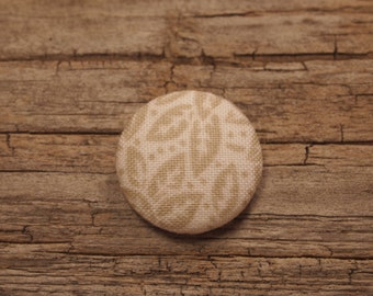 Tan and white leaf print fabric covered buttons (size 60, 40, 32, 20, or 18)