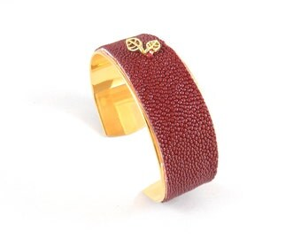 Cuff BUBBLES Carmine Red - line of Leather - Stingray - Stingray - designer jewelery made in France