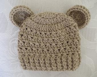 Sale! Baby bear hat, newborn bear hat, baby boy hat, crochet newborn hat, Teddy bear hat, newborn boy hat, baby boy beanie, animal baby hat