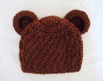 Newborn bear hat, baby boy hat, baby hat with ears, teddy bear hat, crochet bear hat, brown bear hat, crochet newborn hat, newborn boy hat