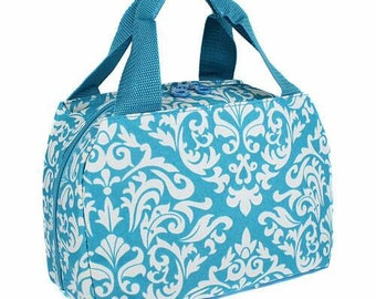 Turquoise damask lunch bag