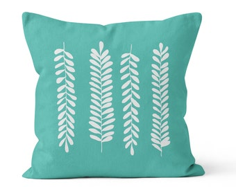 Fern Leaves Pillow Cover, rustic decor, turquoise pillow cover, foliage pillow cover decor, branch pillow cover, botanical pillow cover