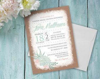 Rustic Bridal Shower Customized Inivitation - Rustic Bridal Shower Printable Invitation